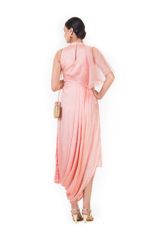 Peach Embroidered Draped Indo-western Dress with Frill Sleeves