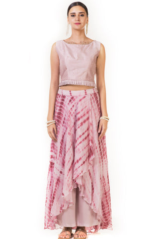 Pink Pleated Blouse with Attached Pants FRONT