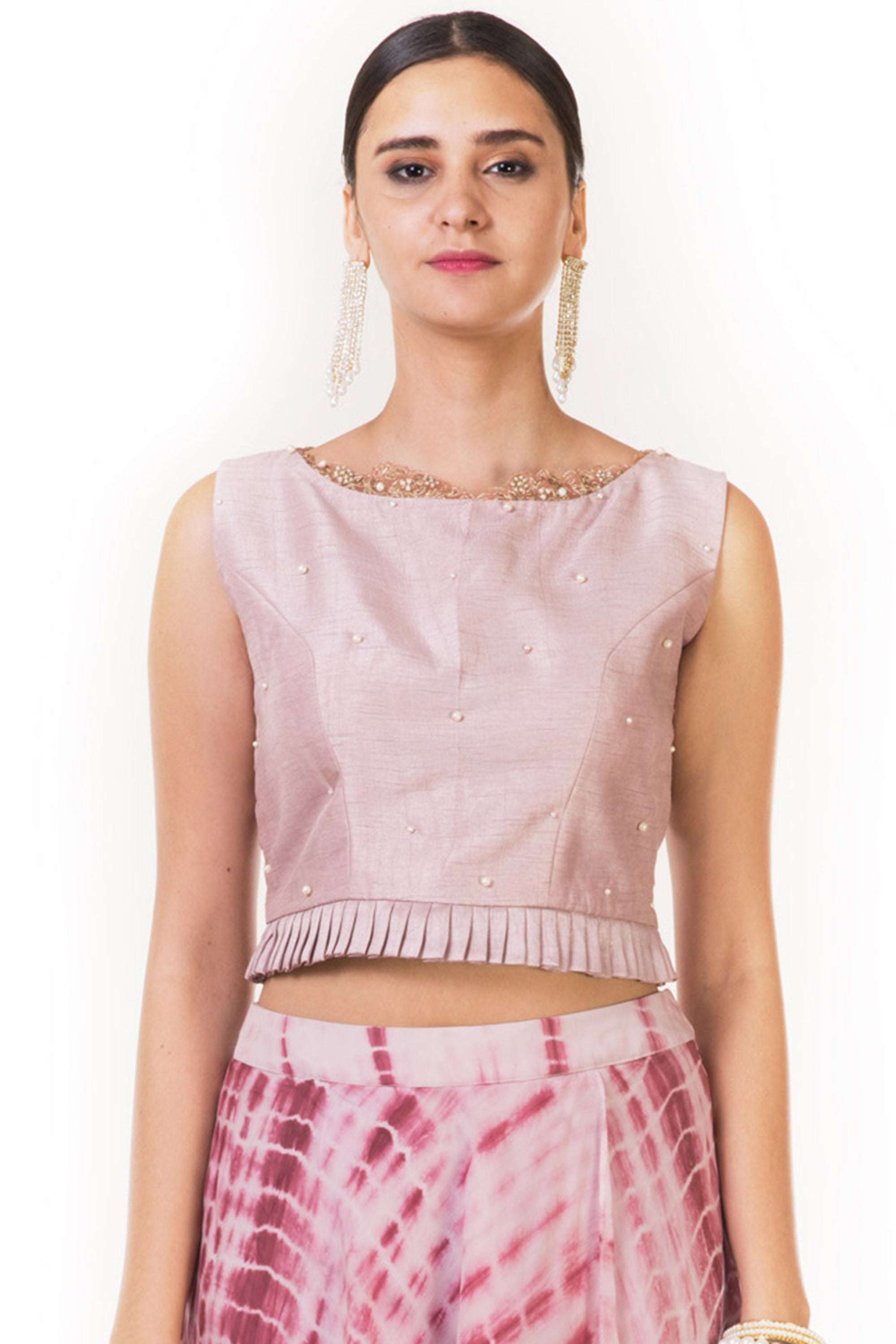 Pink Pleated Blouse with Attached Pants CloseUp