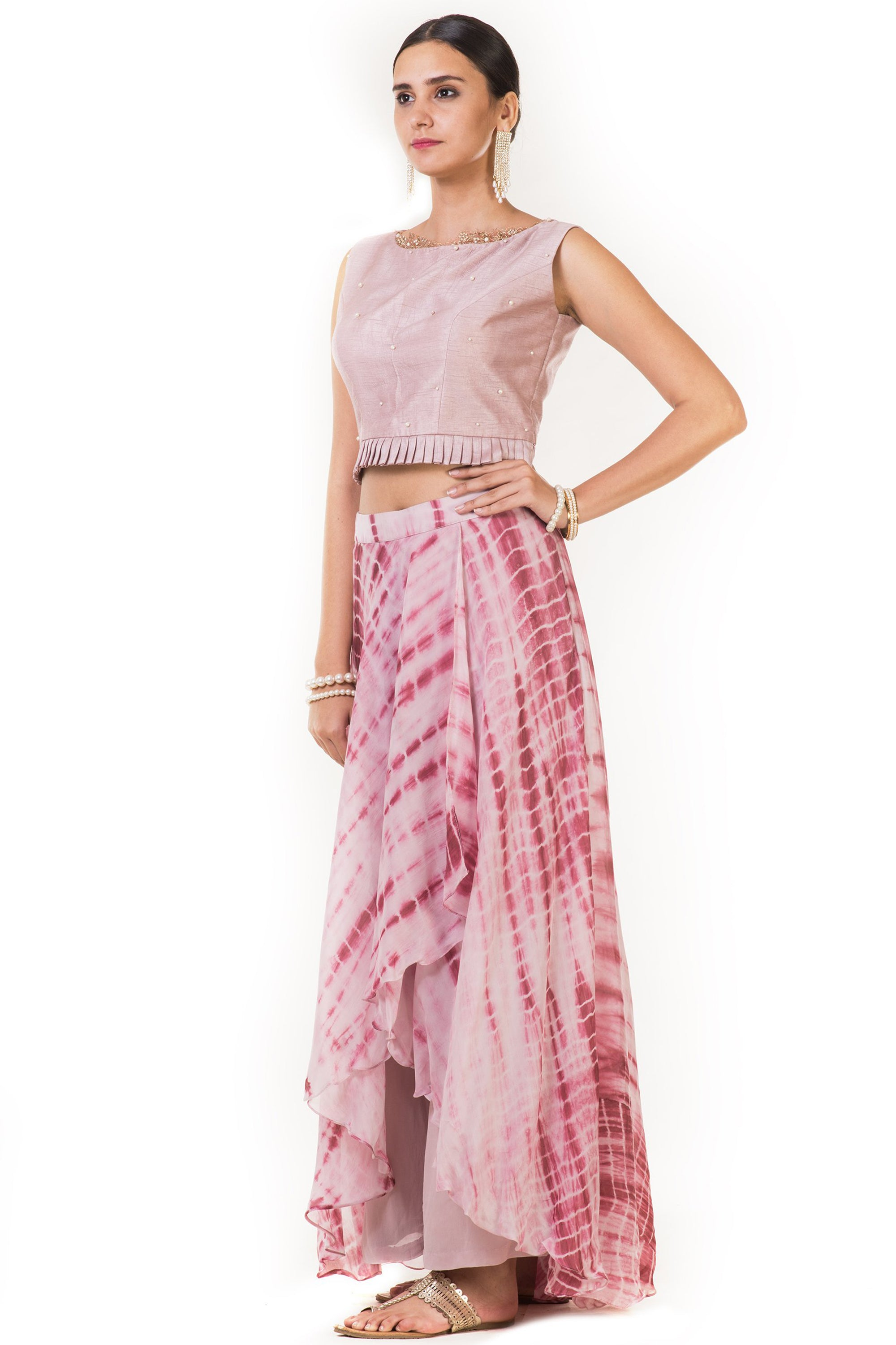 Pink Pleated Blouse with Attached Pants Side