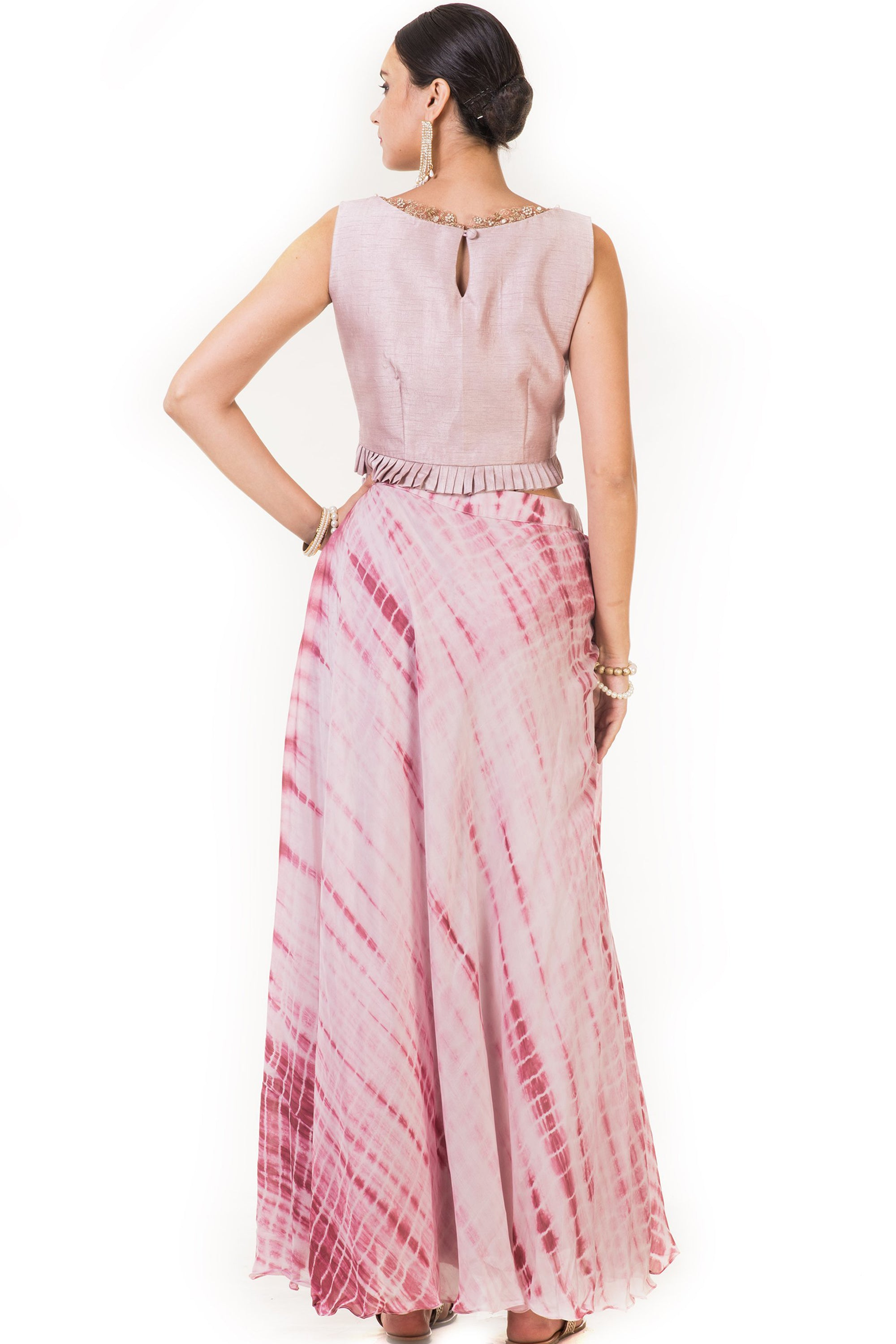 Pink Pleated Blouse with Attached Pants Back