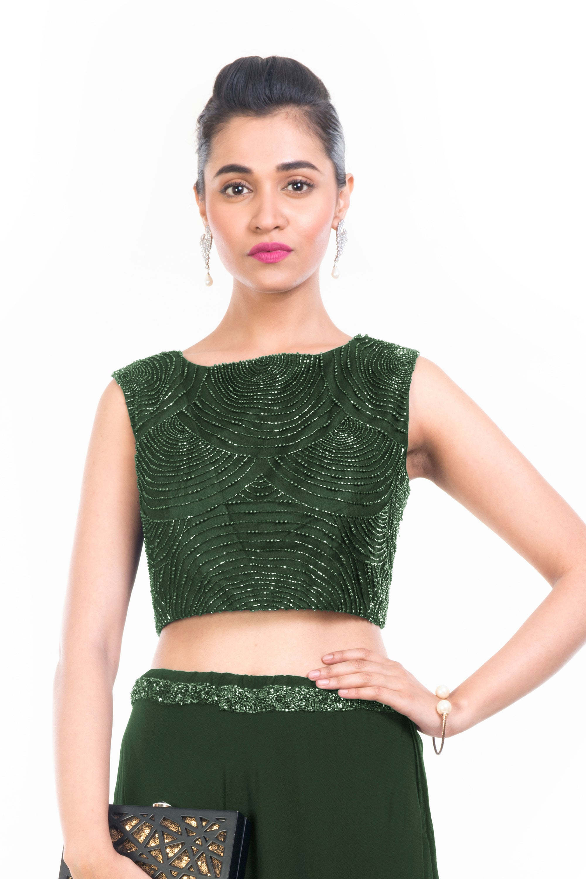 Green Midnight Pearl Crop Top Set CLOSE