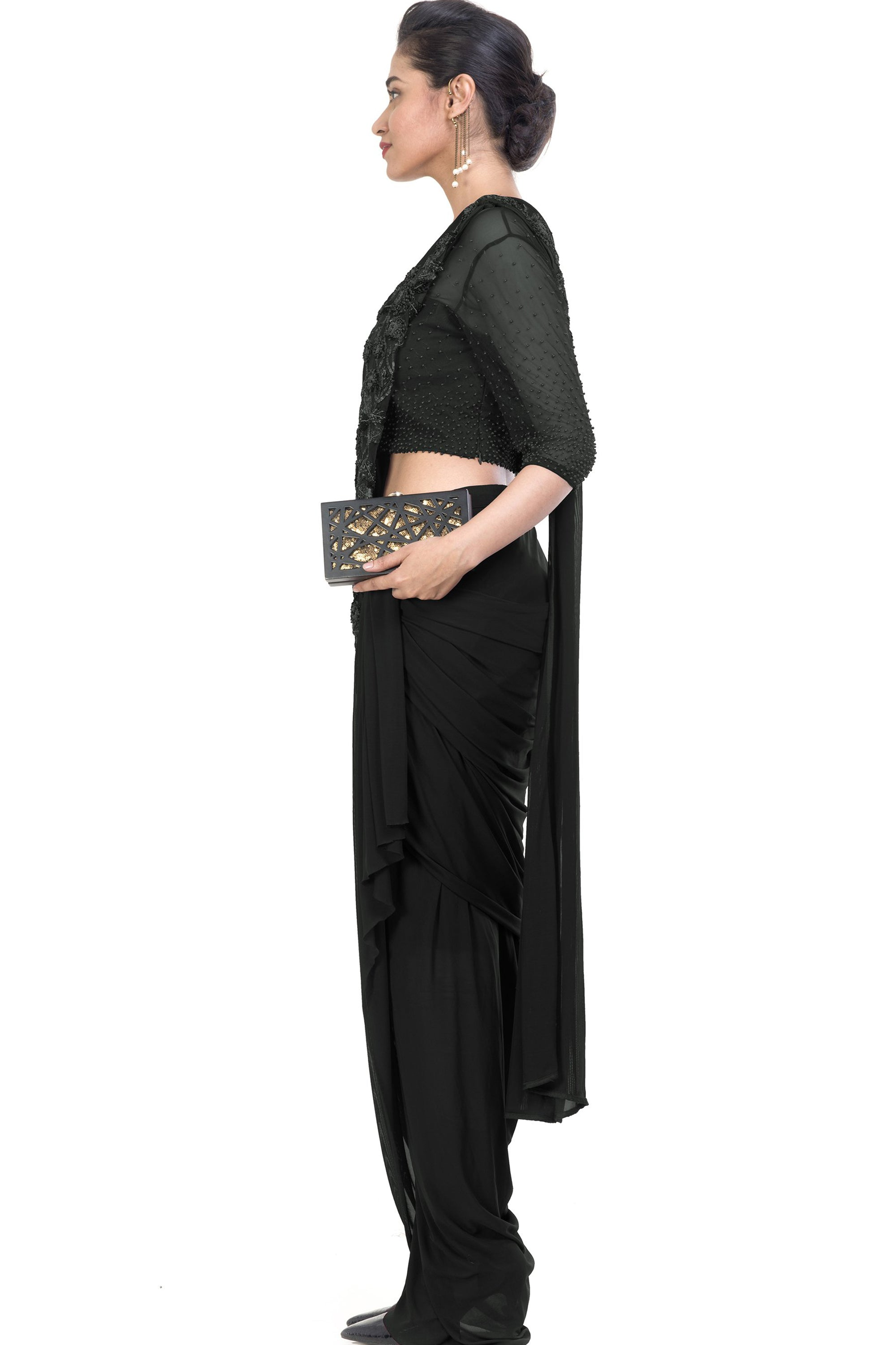 Black Dhoti Drape Saree Side