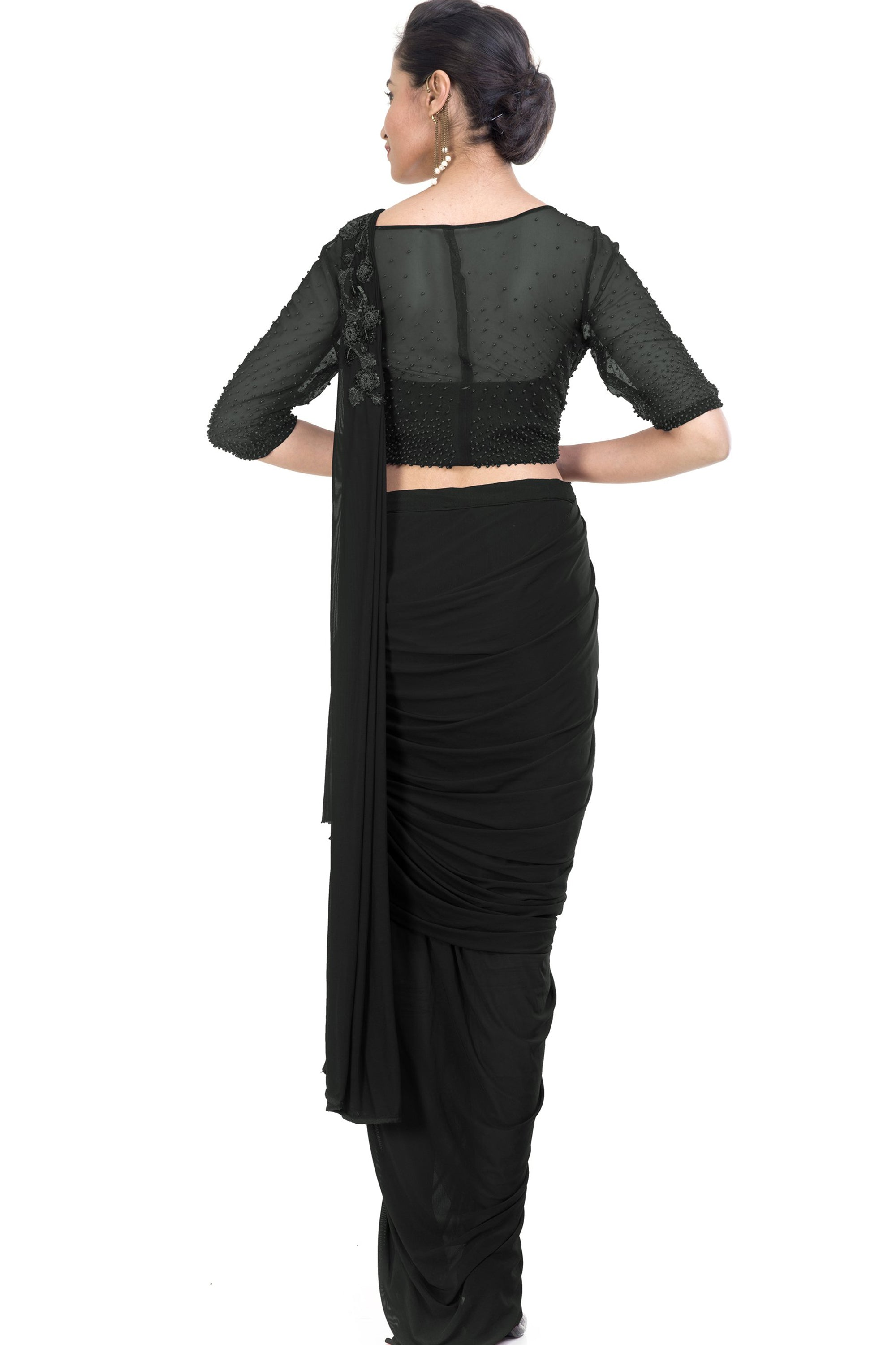 Black Dhoti Drape Saree Back