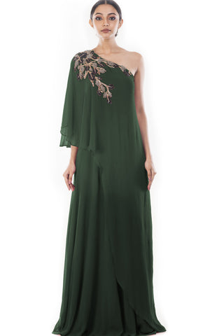 Green drop Shoulder Cape Dress Front