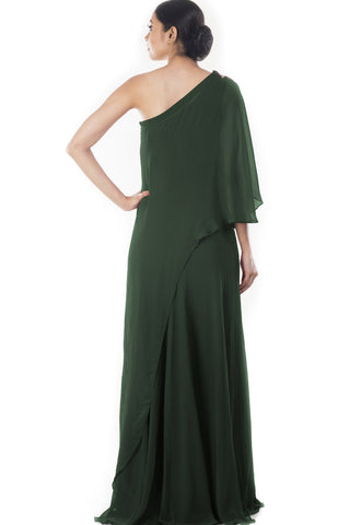 Green drop Shoulder Cape Dress