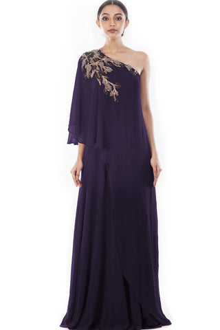 Purple Shoulder Cape Dress Front