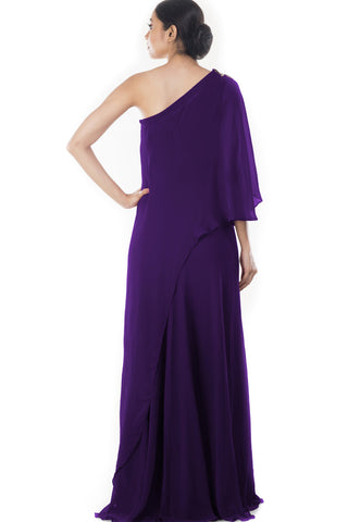 Purple Shoulder Cape Dress