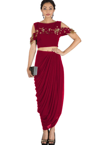 Maroon Bandeau Crop Top and Dhoti Skirt FRONT