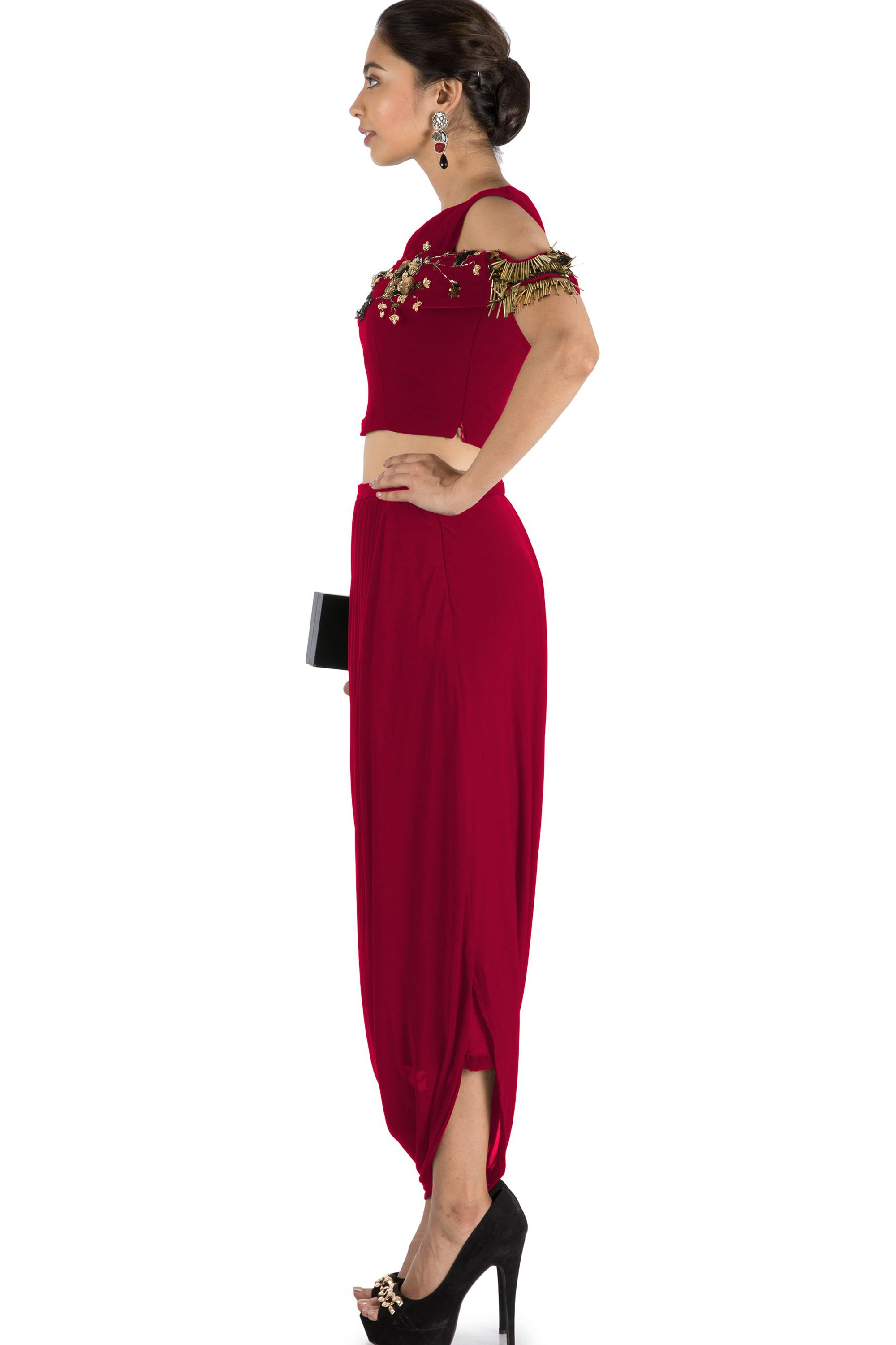 43a0b1c9a7 ... Maroon Bandeau Crop Top and Dhoti Skirt Side ...