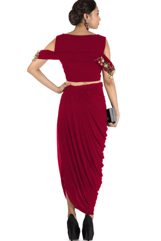 Maroon Bandeau Crop Top and Dhoti Skirt