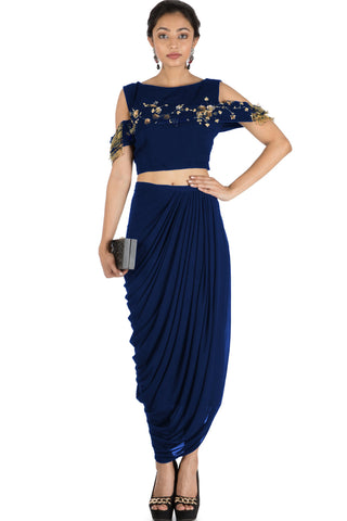 Navy Blue Bandeau Crop Top and Dhoti Skirt FRONT