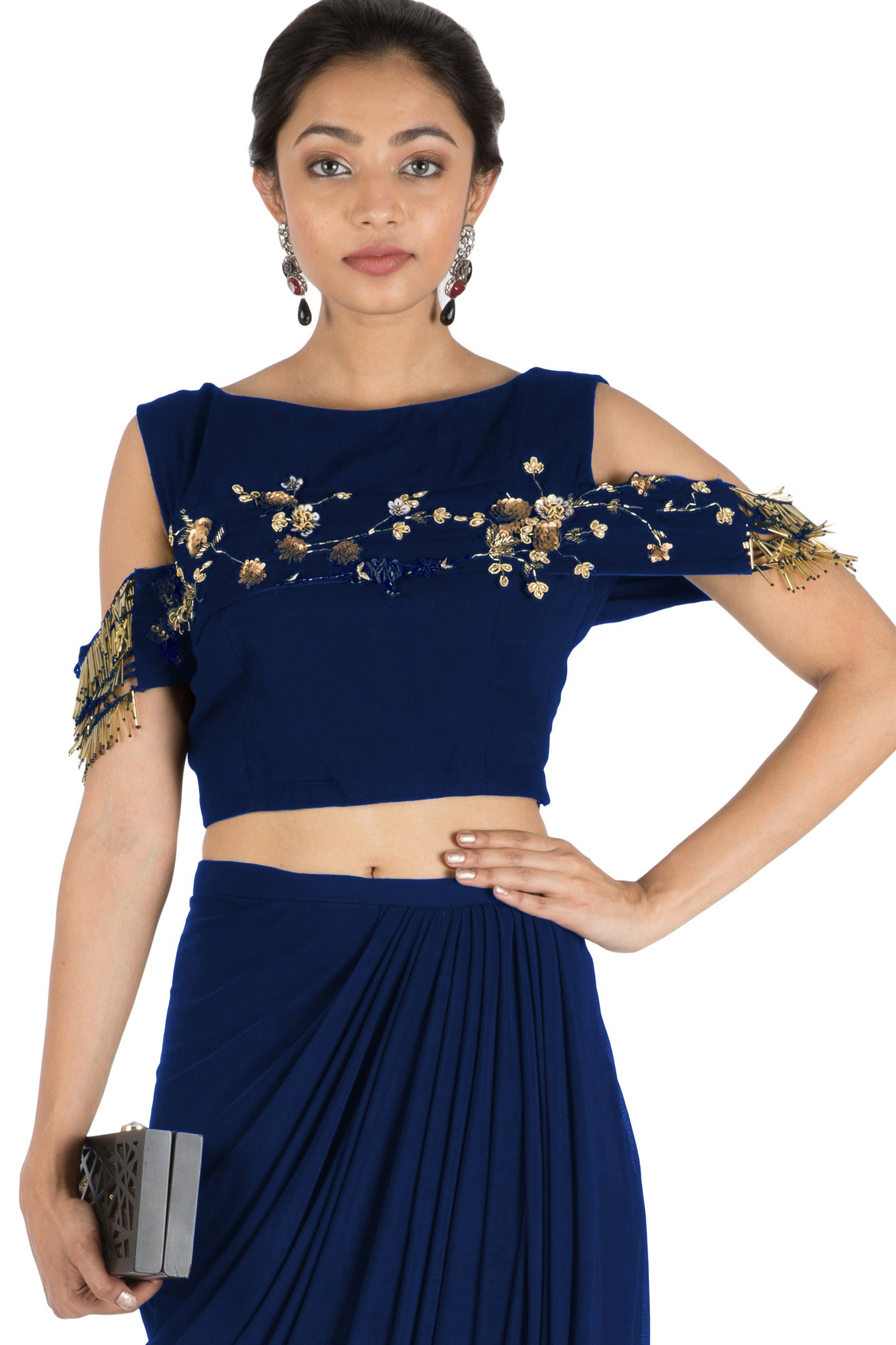 65dfc8c86 ... Navy Blue Bandeau Crop Top and Dhoti Skirt CloseUp