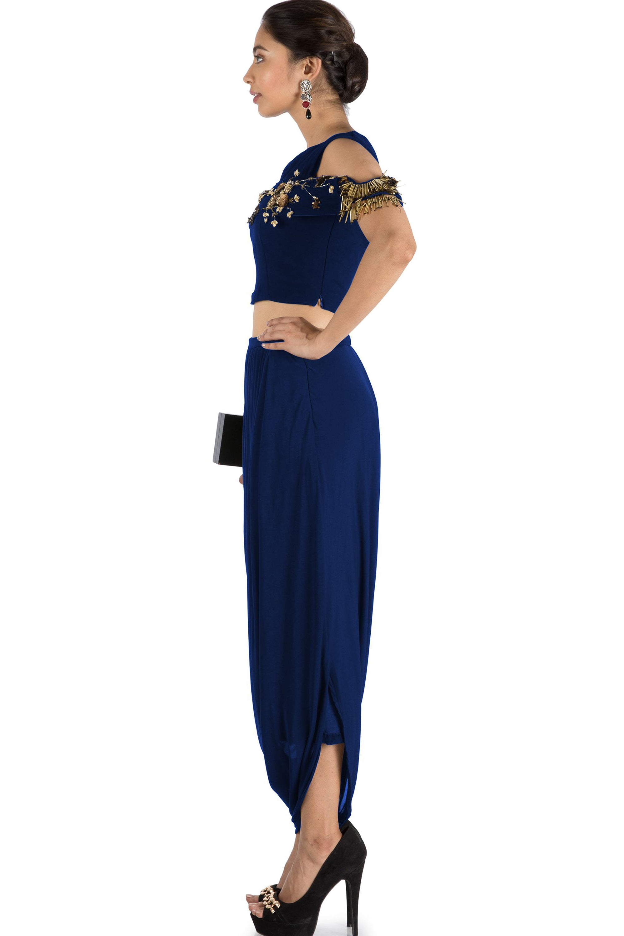 1634f2464c ... Navy Blue Bandeau Crop Top and Dhoti Skirt Side ...