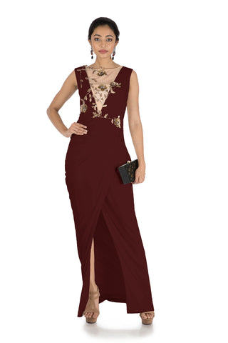 Maroon  Drape Cocktail Dress  FRONT