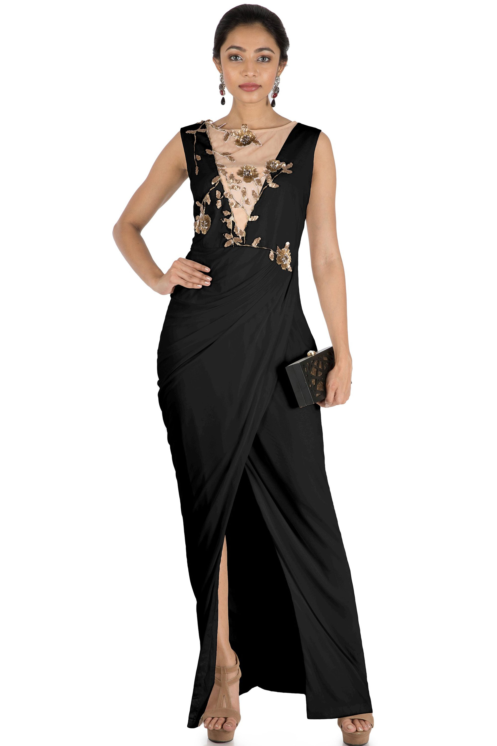 Black Drape Cocktail Dress Front