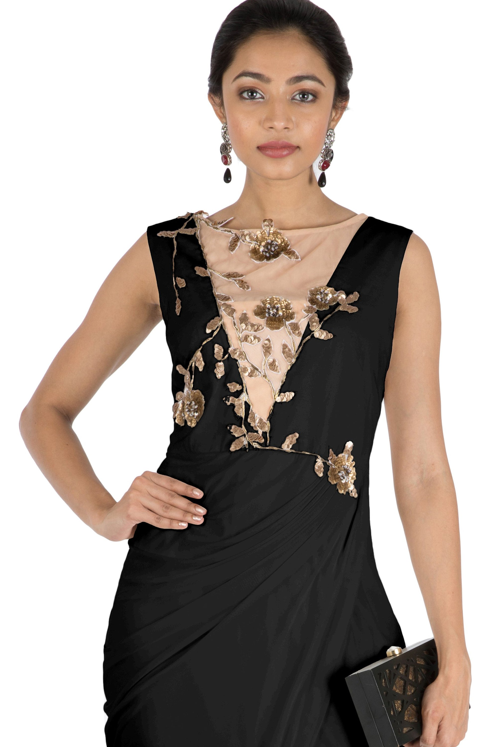 Black Drape Cocktail Dress CLOSE