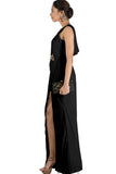 Black Drape Cocktail Dress Side