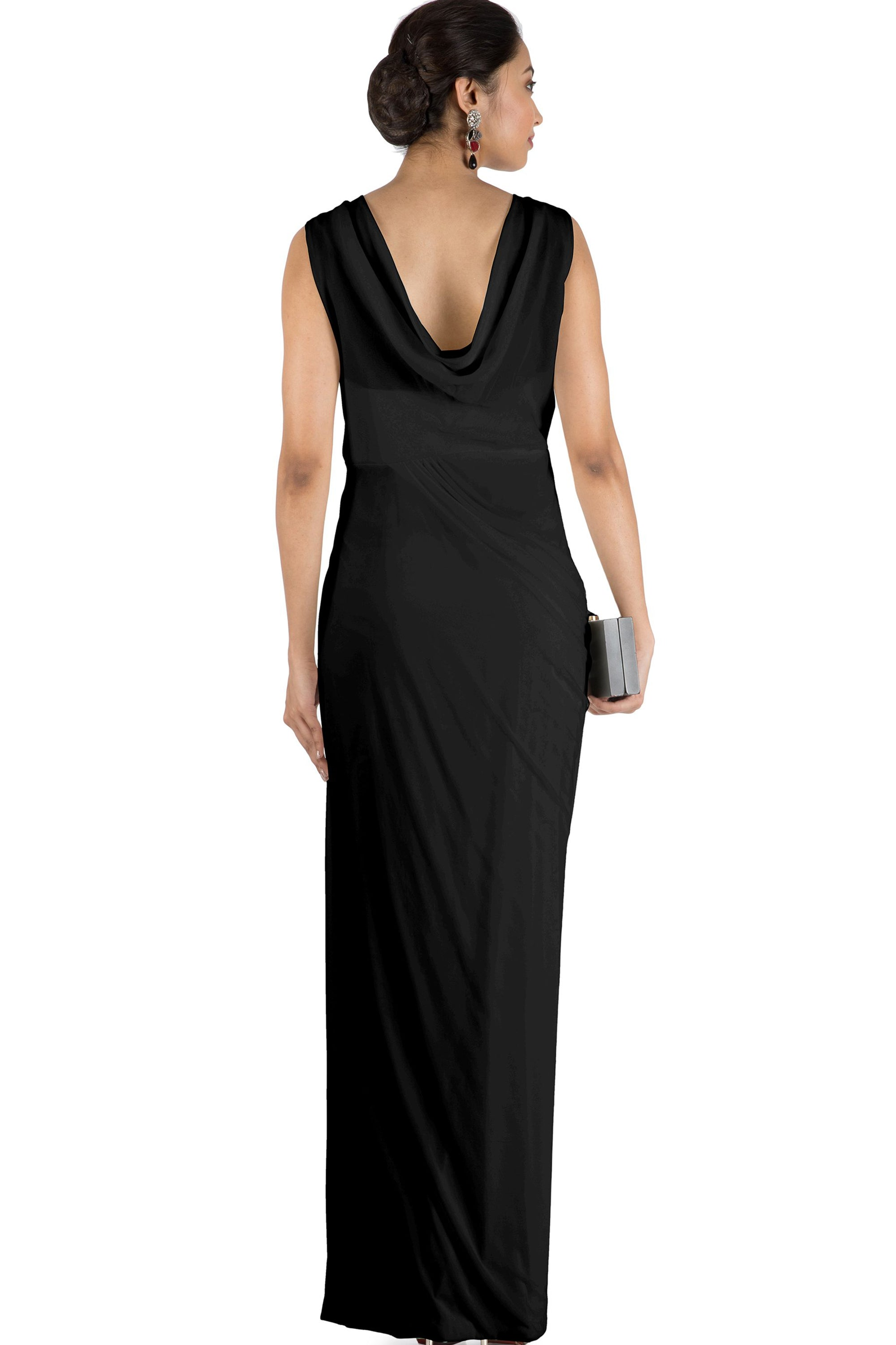 Black Drape Cocktail Dress BACK
