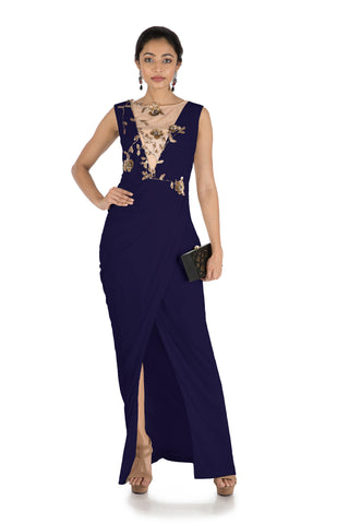 Blue Drape Cocktail Dress FRONT