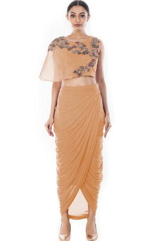 Peach Crop Top & Draped Skirt Front