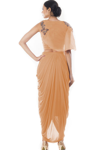 Peach Crop Top & Draped Skirt