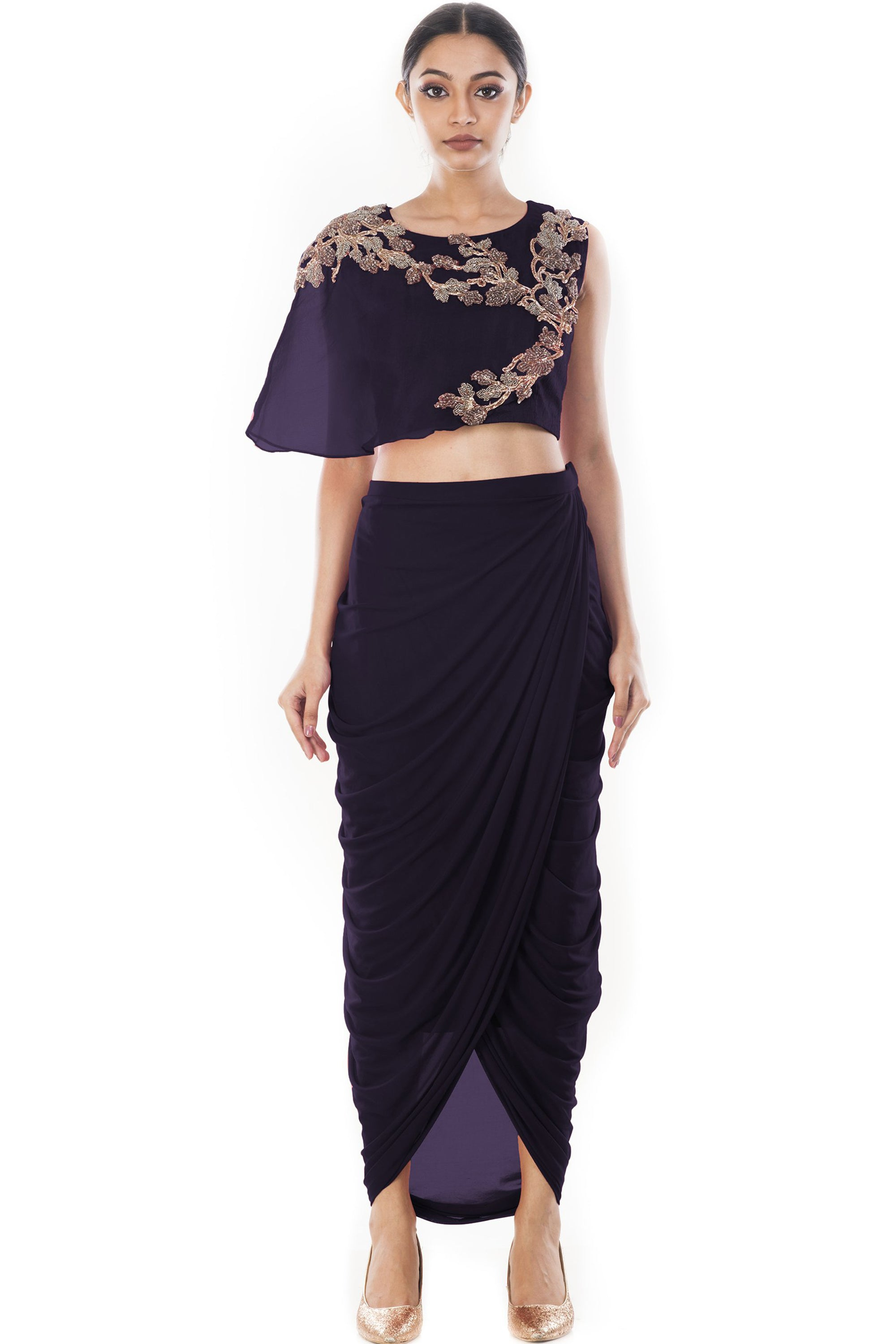 Purple Crop Top & Draped Skirt Front