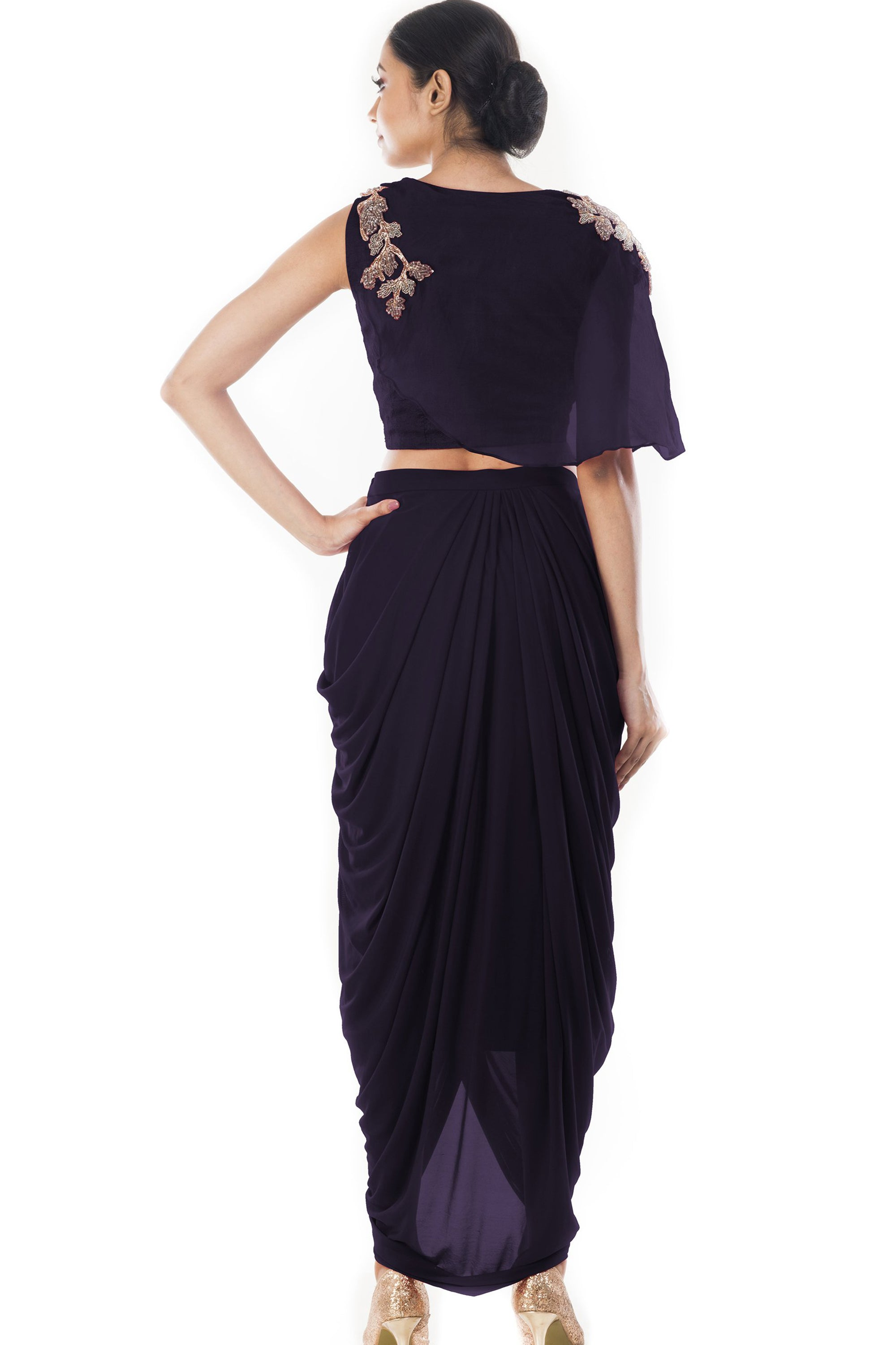 Purple Crop Top & Draped Skirt Back
