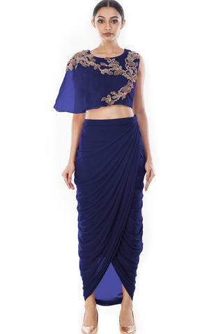 Blue Crop Top & Draped Skirt Front