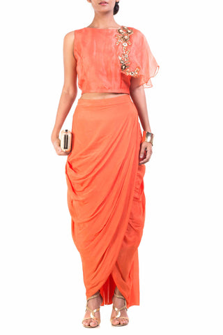 Bright Orange Cape-Cropper With Wrap Dhoti Skirt Front