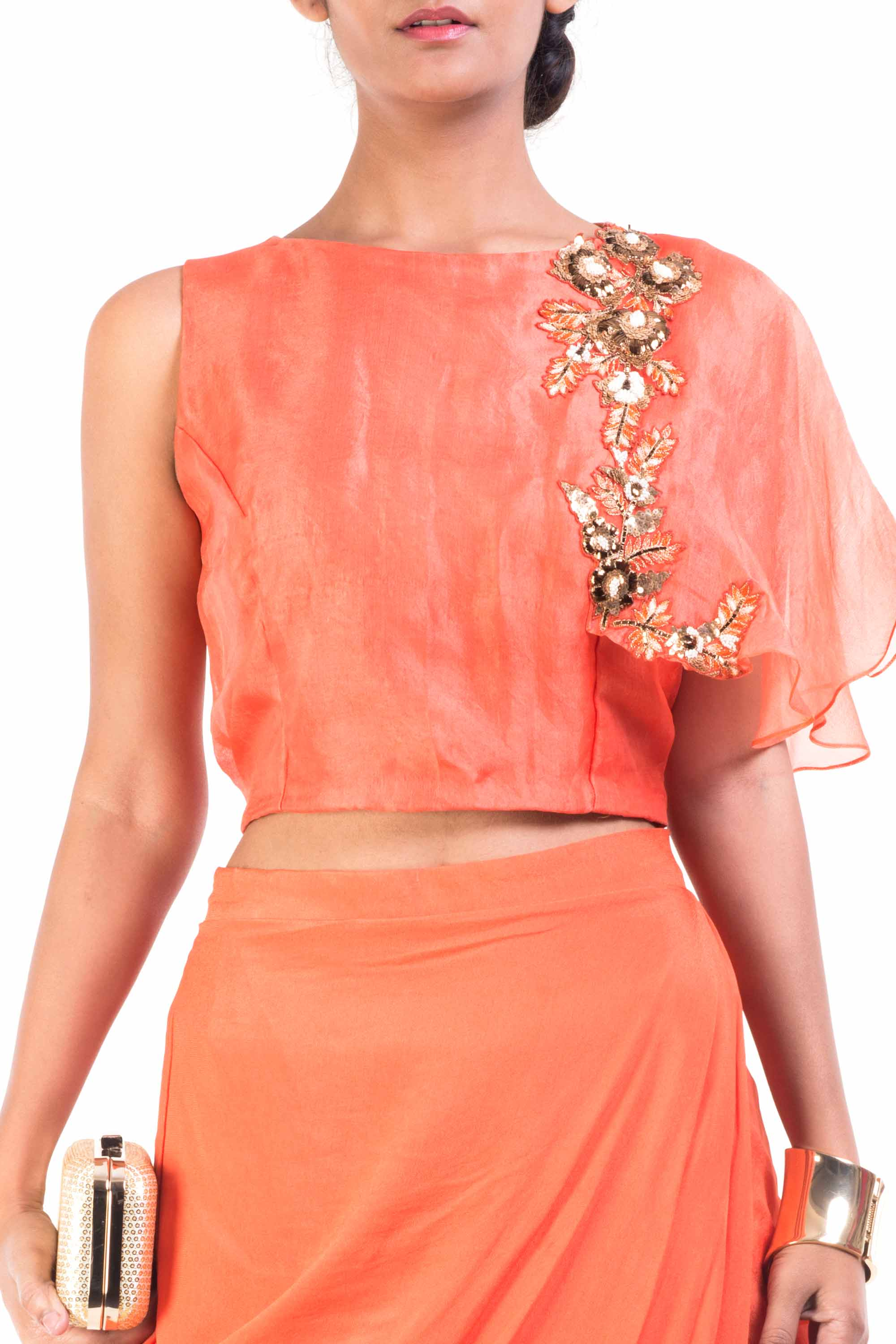 Bright Orange Cape-Cropper With Wrap Dhoti Skirt Closeup