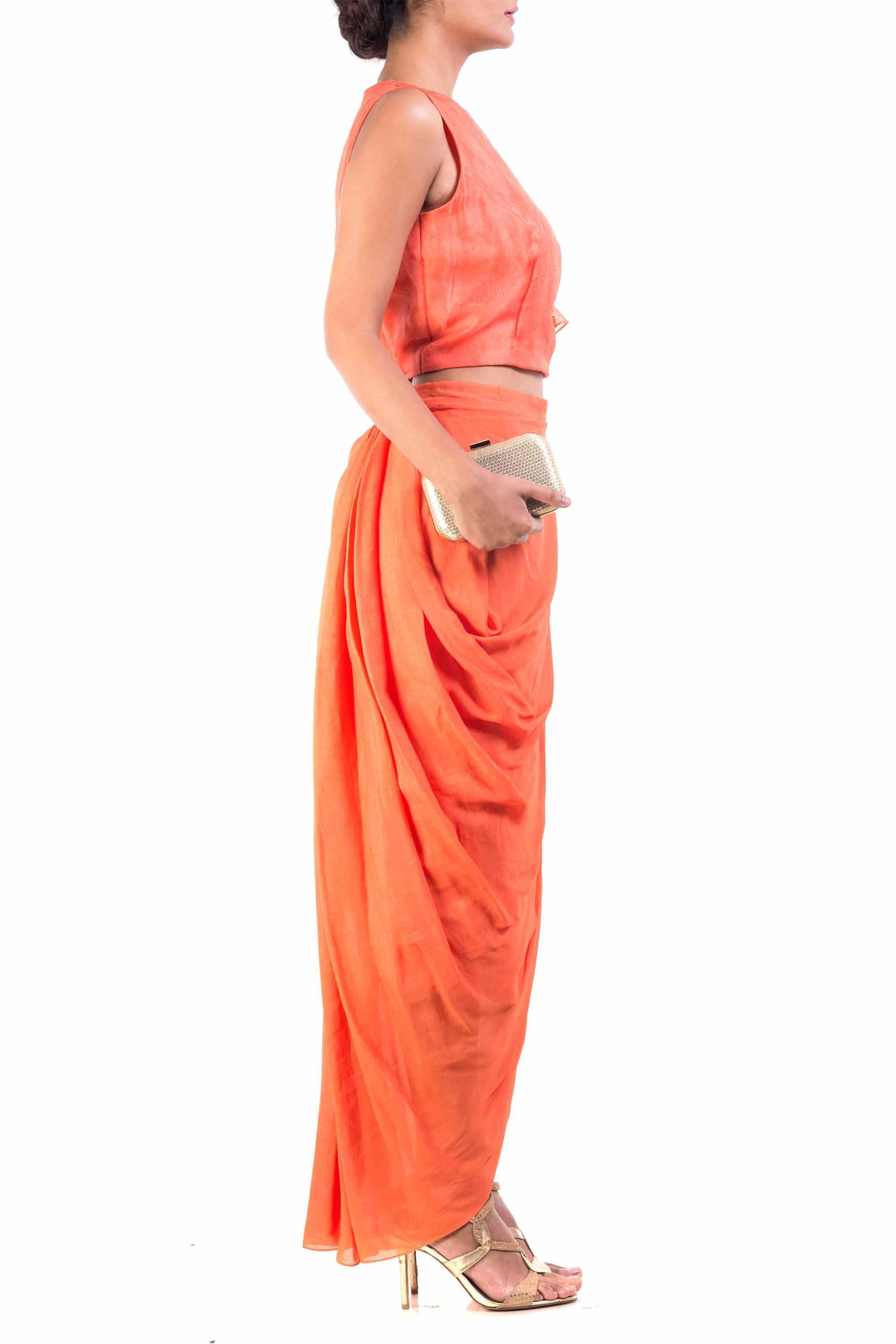 Bright Orange Cape-Cropper With Wrap Dhoti Skirt Side