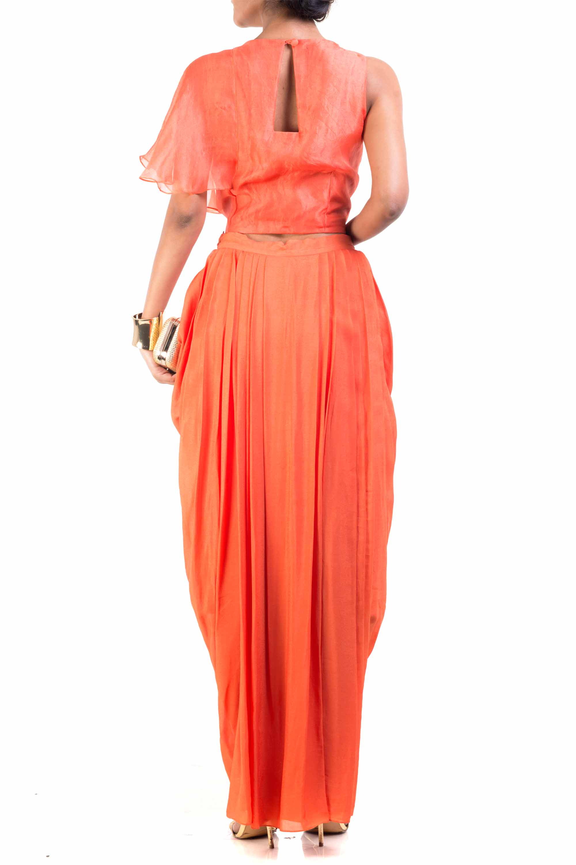 Bright Orange Cape-Cropper With Wrap Dhoti Skirt Back