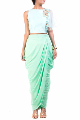 Sky Blue Cape-Cropper With Aqua Dhoti Wrap Skirt Front