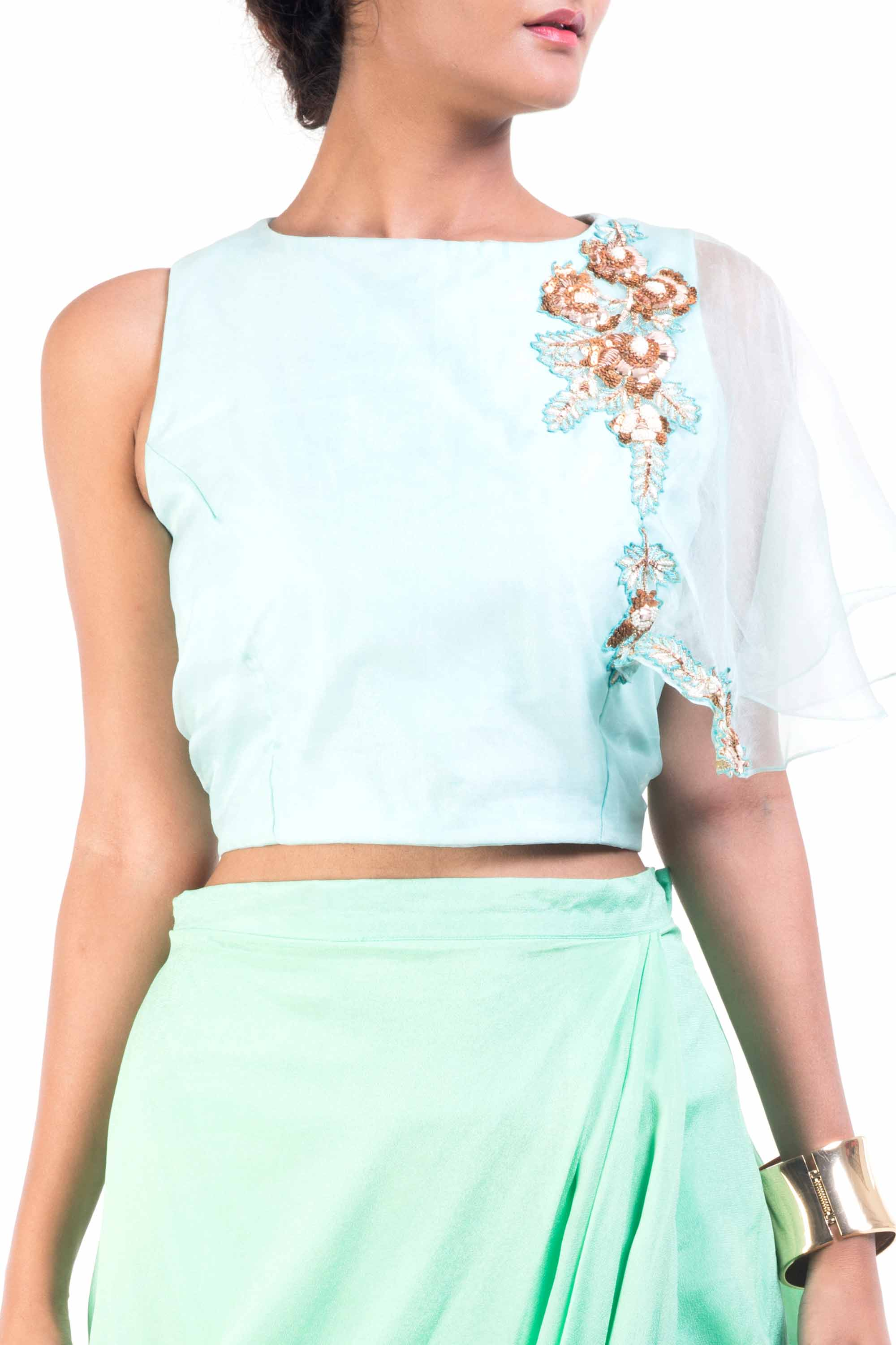 Sky Blue Cape-Cropper With Aqua Dhoti Wrap Skirt Closeup