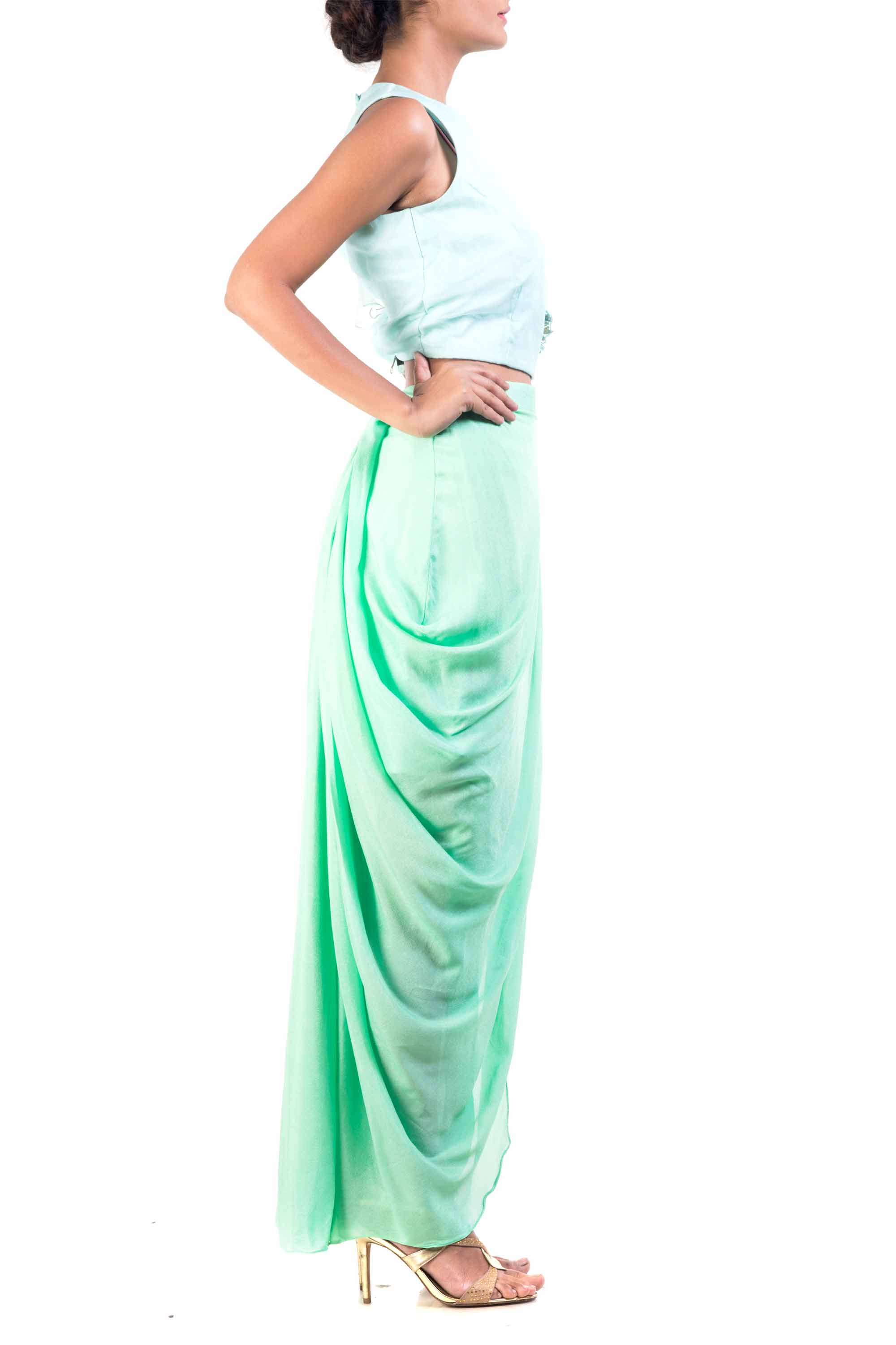 Sky Blue Cape-Cropper With Aqua Dhoti Wrap Skirt Side
