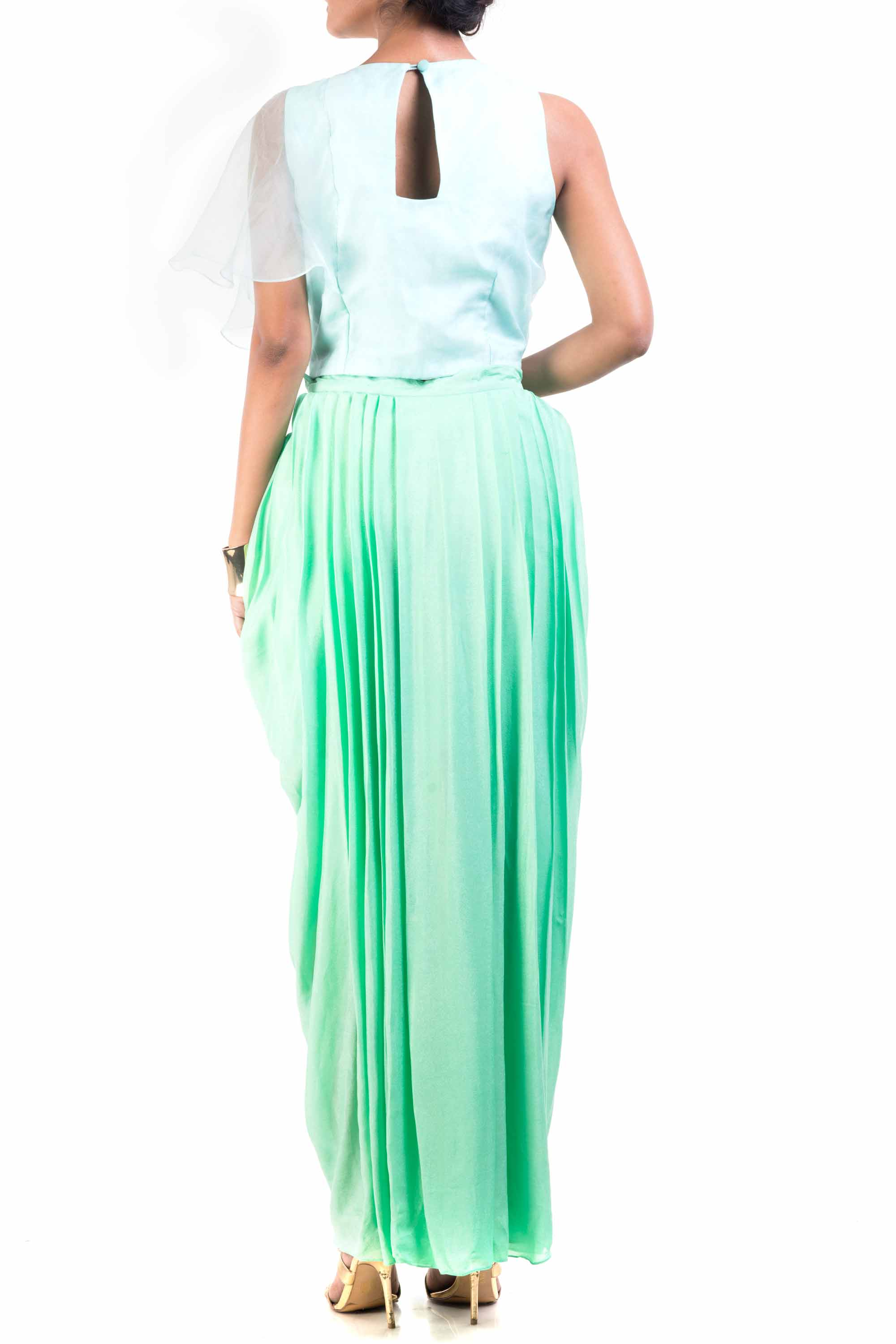 Sky Blue Cape-Cropper With Aqua Dhoti Wrap Skirt Back