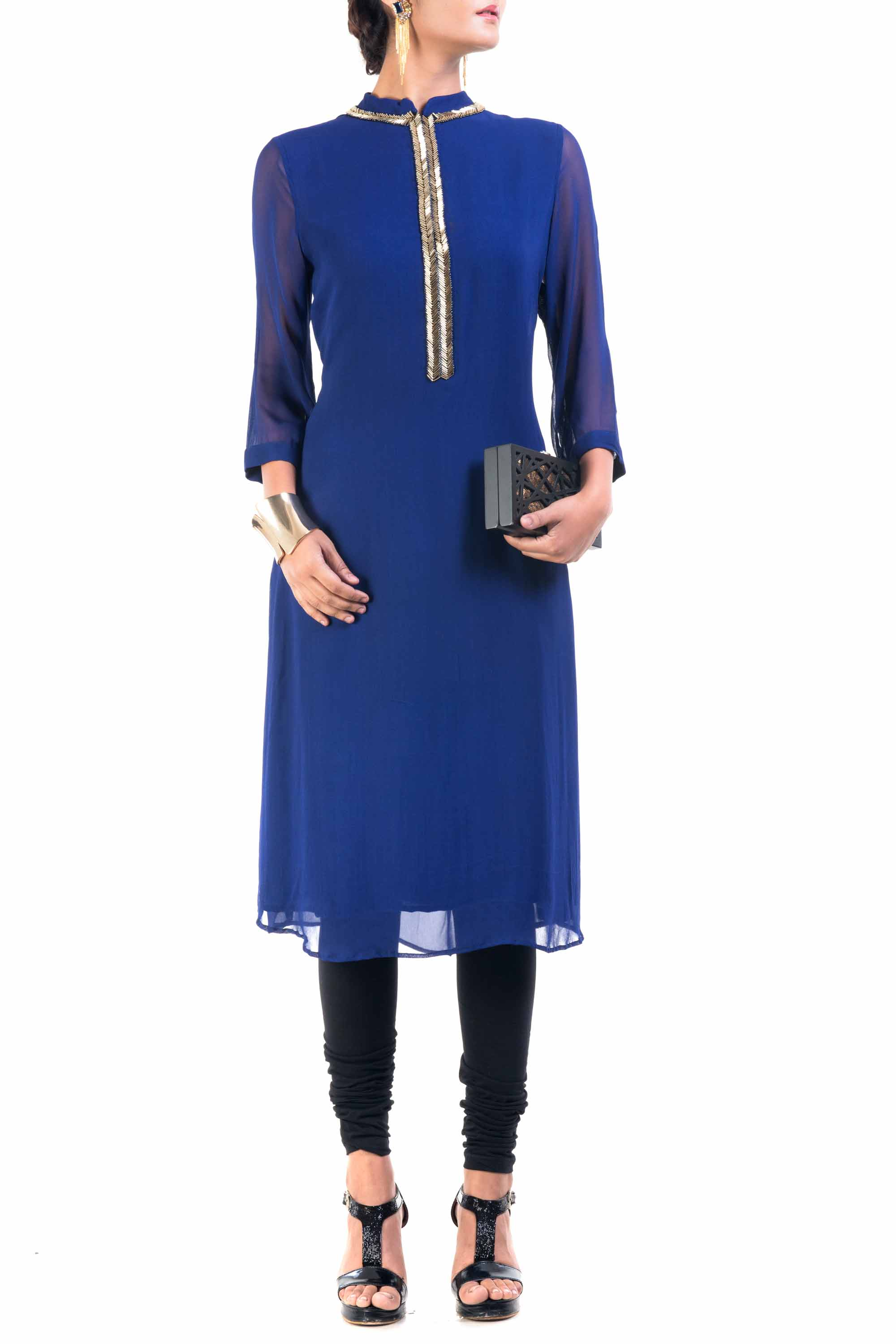 Classic Blue And Gold Pipe Tunic Front