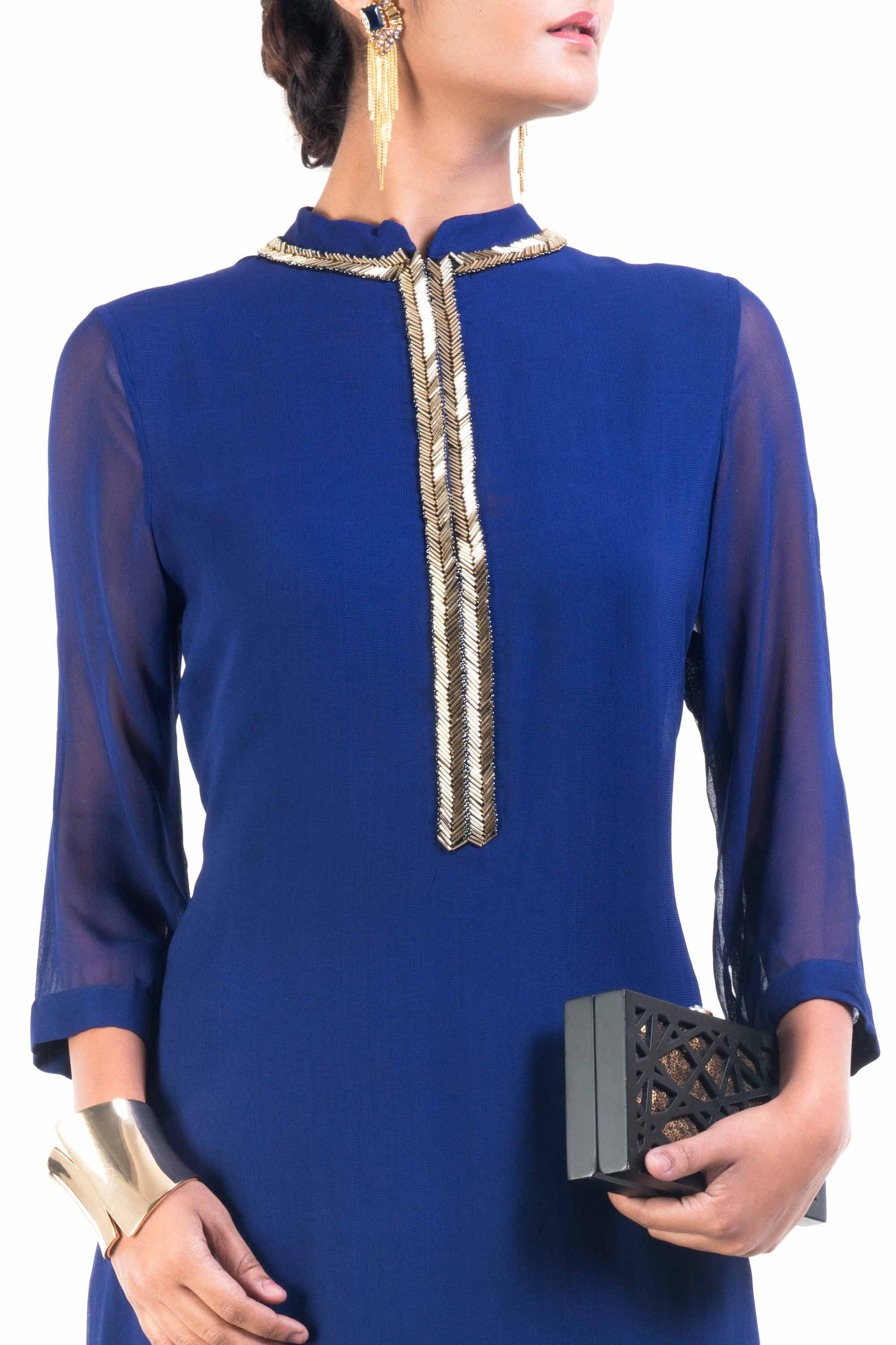 Classic Blue And Gold Pipe Tunic Closeup