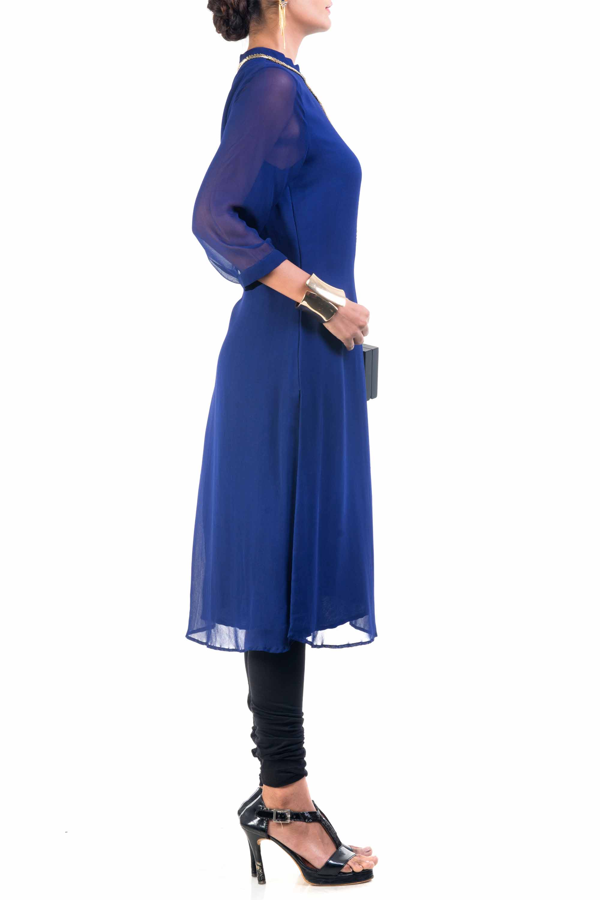Classic Blue And Gold Pipe Tunic Side