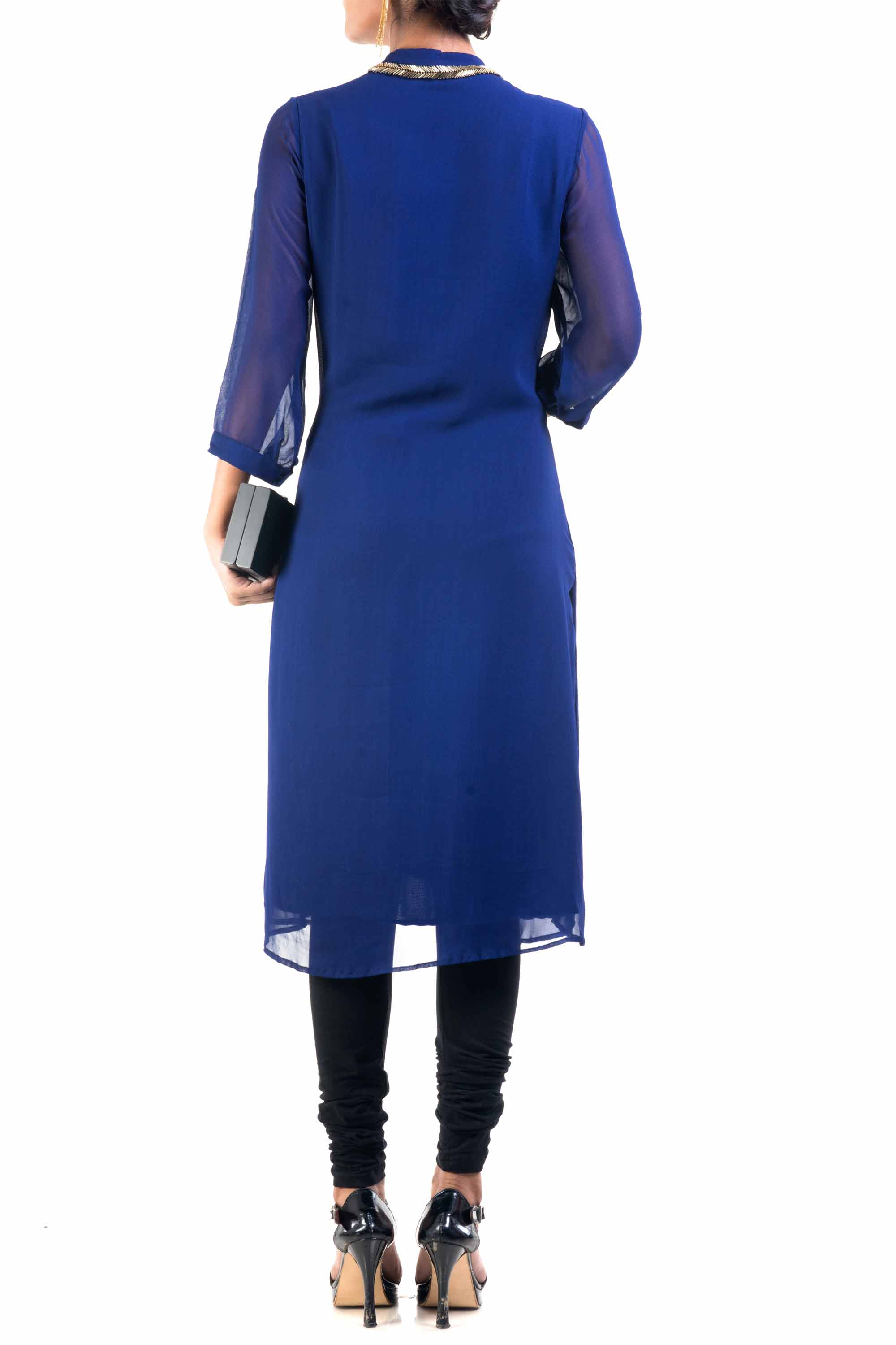 Classic Blue And Gold Pipe Tunic Back