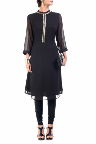 Classic Black And Gold Pipe Tunic Front