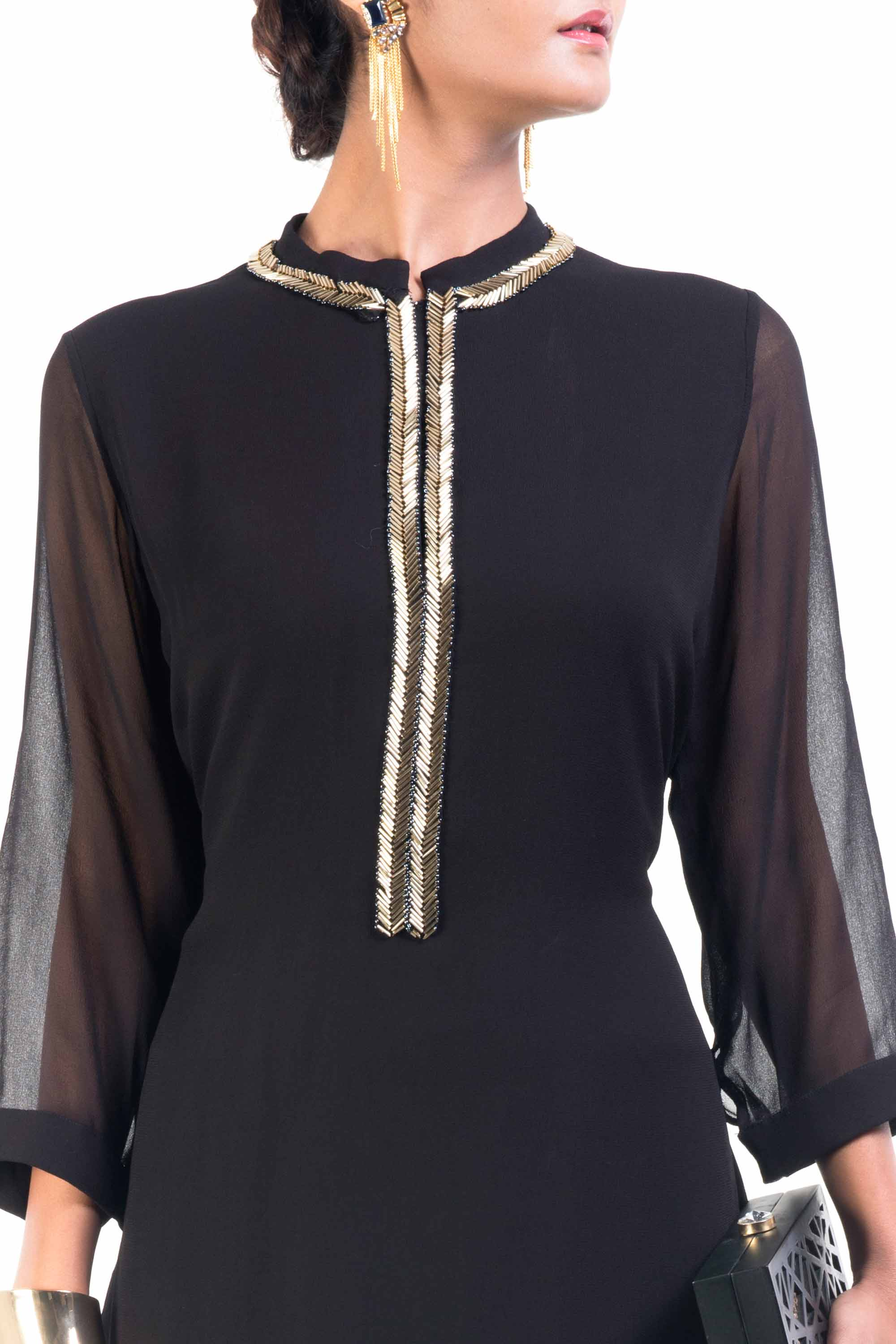 Classic Black And Gold Pipe Tunic Closeup