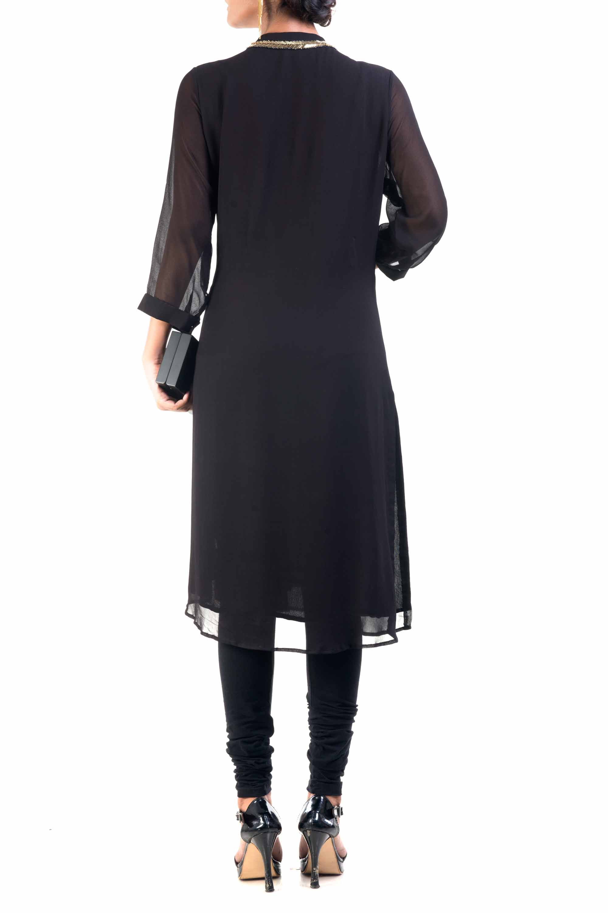 Classic Black And Gold Pipe Tunic Back