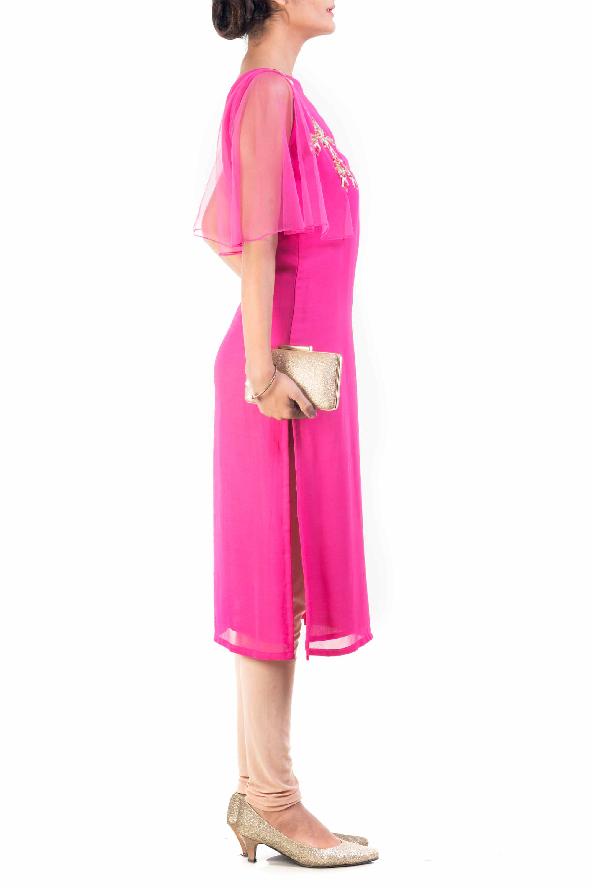 Fuchsia Rose Cape Sleeve Tunic Side