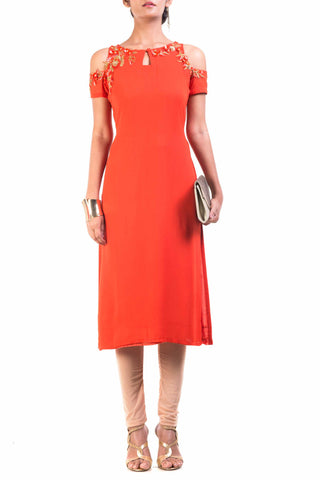 Bright Orange Cold Shoulder Tunic Front