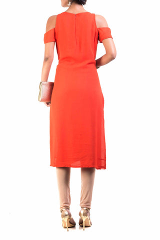 Bright Orange Cold Shoulder Tunic