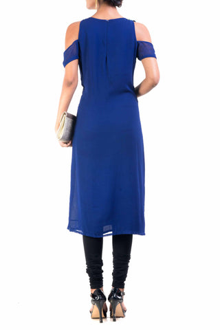 Blue Cold Shoulder Tunic