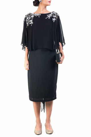 Black Cape Dress Front