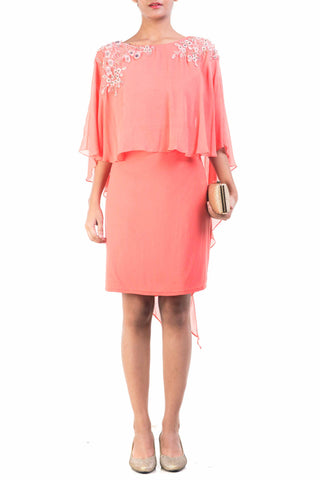 Peach Cape Dress Front